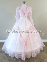 Mid-19th Century Pink and White Dotted Civil War Victorian Period Dress Ball Gown Reenactment Dress