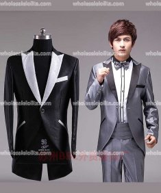 Mens Gray/Black Prince Palace Tail Suits Mens Vintage Costume