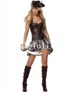 Halloween Pirates of the Caribbean Coffee Sexy Halter Corset Top Pirate Costume
