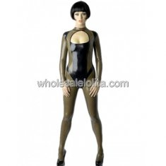 Olive Green and Black Sexy Latex Catsuit
