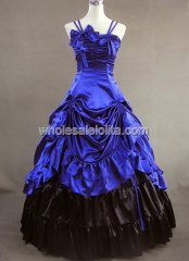 Spaghetti Jewelery Blue and Black Victorian Lolita Dress Wedding Southern Belle Gown Prom Dress
