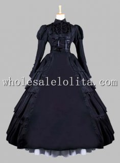 19th Century Gothic Black Victorian Era Ball Gown Stage Costume