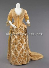 1888 Victorian Era Late Bustle Dress Long Train French Silk Evening Dress