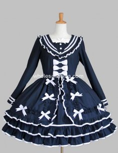 Navy Blue Ruffled Lolita Dress With Bows