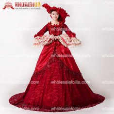 New Renaissance Fair Royal Red Elizabeth Ball Gown Marie Antoinette Medeival Period Dress with Train Reenactment Costume