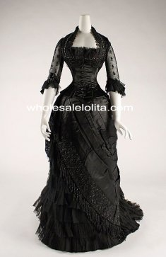 Custom Made 1881-84 Black Victorian Bustle Evening Dress Reenactment Attire