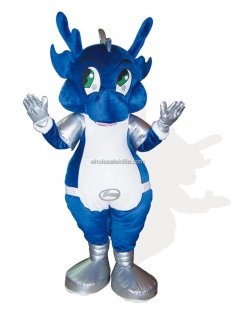 Blue Plush Adult Dragon Mascot