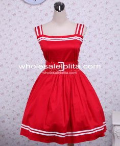 Cotton Red Sash Sleeveless School Sailor Lolita Dress