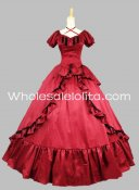 1850s Victorian Red Satin Civil War Southern Belle Prom Dress Ball Gown
