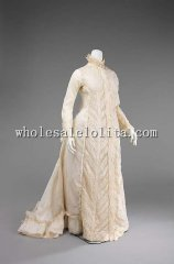 Custom Made 1880s Typical Late Victorian Women Morning Wear Dressing Gown