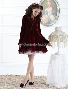 Burgundy Layered Ruffled V Neck Vintage Lolita Dress