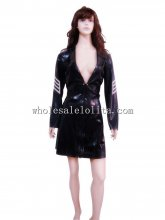 Female Low Cut Latex Military Uniform Gown