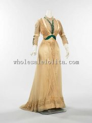 Late 1900s American Culture Silk Victorian Edwardian Era Dress