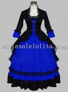 Gothic Black and Blue Victorian Ball Gown Period Dress Two Piece