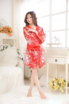 Sexy Kimono Costume Red Print Dress Sexy Dress Up