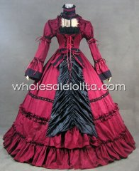 Steampunk Black and Red Lace-up Cotton Victorian Period Dress Reenactment Stage Costume