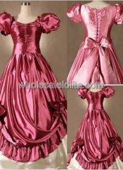 Princess Pink Satin Victorian Lolita Wedding Southern Belle Masquerade Ball Gown