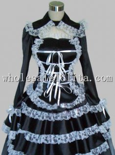 Black and White Lace Gothic Lolita Dress 2 Pieces