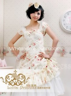 Light Yellow Recoco Party Dress Sweet Flower Print Cotton OP Lolita Dress