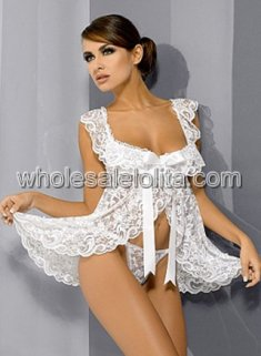 Cheap White Lace Babydoll Lingerie with Bow Tie
