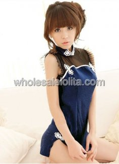 Out of stock Hot Sale Deep Blue Sexy Cheongsam