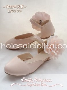 Sweet Camellia Series Princess Beige Flat Heel Round Toe Lolita Shoes