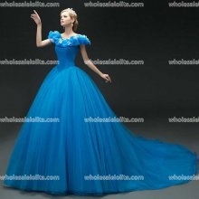 Blue Organza Party Dress Ball Gown Cinderella Dress