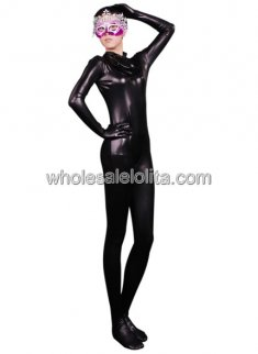 Black Full body Shiny Metalic Catsuit