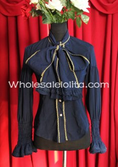 Ladies PIRATE WIND Blue Chiffon Neckline Bowknot Blouse