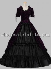Victorian Gothic Velvet Ball Gown Period Dress Reenactment Theatre Clothing PURPLE