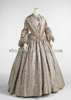 1848 Pre-hoop Era British Silk Victorian Afternoon Dress