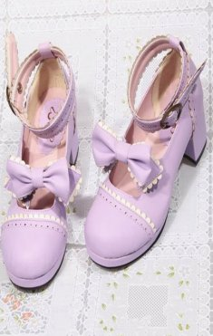 College Wind Sweet Lolita Bow 4.5cm Chunky Heel Round Toe Shoes