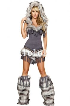Female Wild Wolf Cosplay Faux Fur Animal Halloween Costume