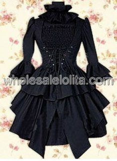 Black Long Sleeves Cotton Punk Lolita Dress