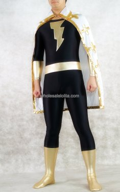 Black Shiny Metalic Blade Spandex Zentai Costume With Cape