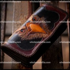 Gothic Steampunk rock punk Retro Rock Leather Long Purse halloween Wallet Card Holder