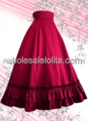 Hot Sell Red Long Ruffled Cotton Lolita Skirt