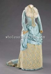 Luxurious Silk & Feathers 1885 Late Bustle Victorian Evening Dress