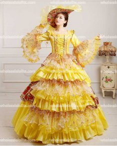 Vintage Pink Marie Antoinette Inspired Prom Dress Wedding Quinceanera Ball Gown Yellow