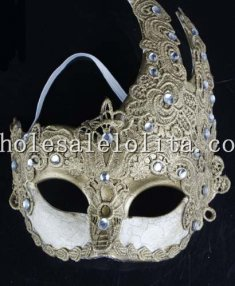 Gold Swan Shaped Venetian Masquerade Masks with Rhinestone