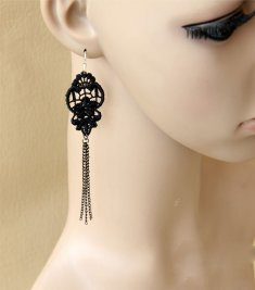 Gothic Black Lace Lolita Earrings EH-61