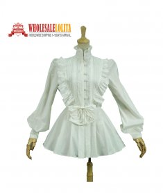 Victorian Gothic Pleated Steampunk White Blouse Top Shirt Theater Vampire Reenactment Clothing