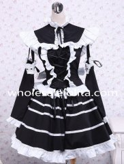 Black Cotton Stand Collar Long Sleeves Ruffles Bow Gothic Lolita Dress