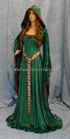 Custom Made Green Crushed Velvet Medieval Renaissance ELVEN FAIRY Dress