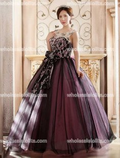 A-Line Floor Length Dark Organza Stage Party Dress