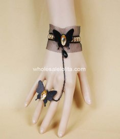 Gothic Butterfly Black Lace Golden Ladies Bracelet & Ring