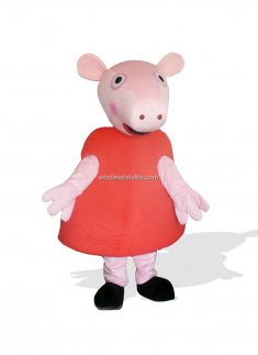 Red Dresses Big Nose Pig Plush Adult Farm Animal Costumes