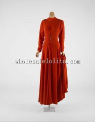 Custom Made 1930s American Red Silk Long Evening Dress