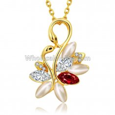 Fashionable Yellow Gold Necklace with Colorful Floral Pendant for Versatile Occasions