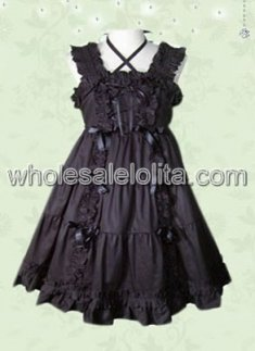 Endearing Double Cross Straps Black Classic Lolita Dress